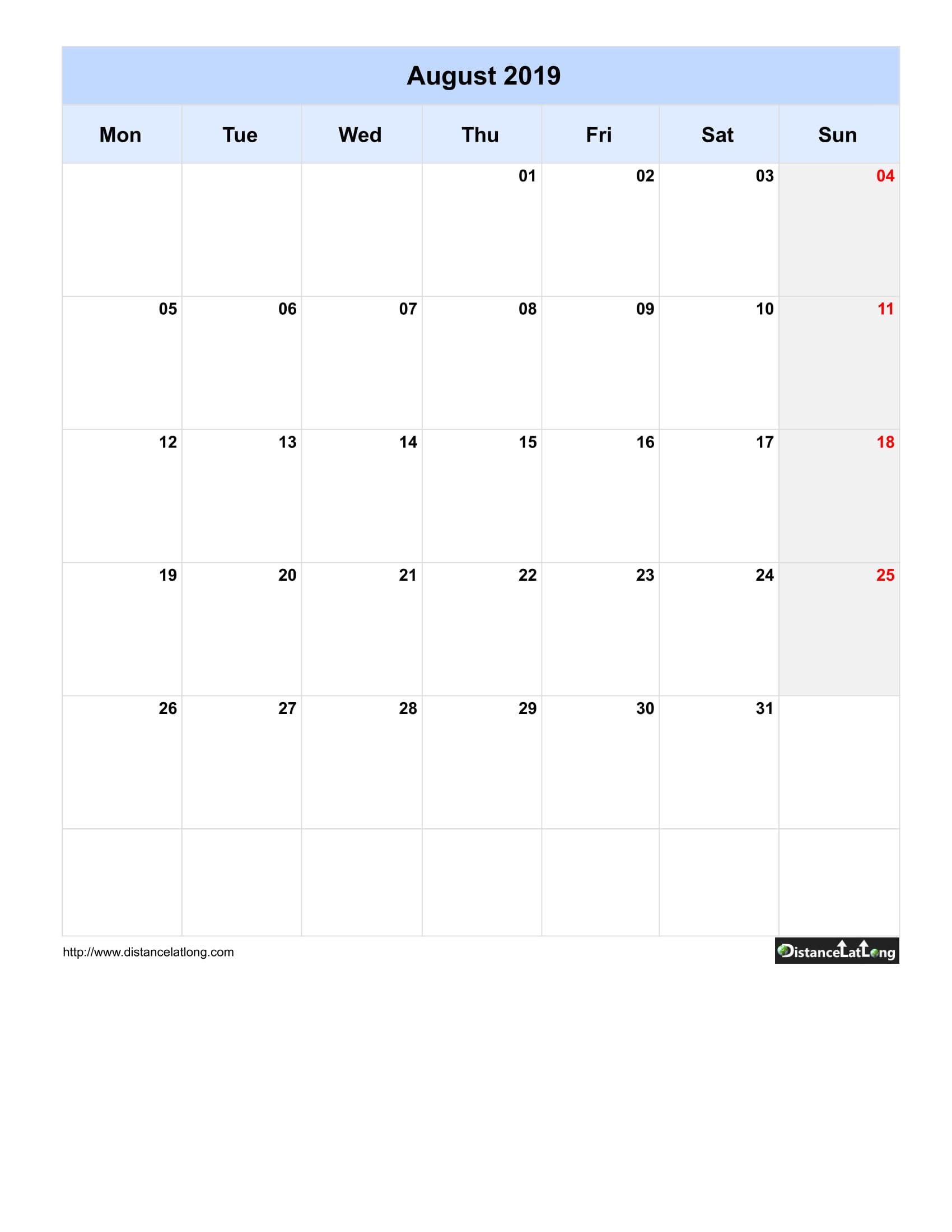 Blank Calendar 2019 Template from www.distancelatlong.com