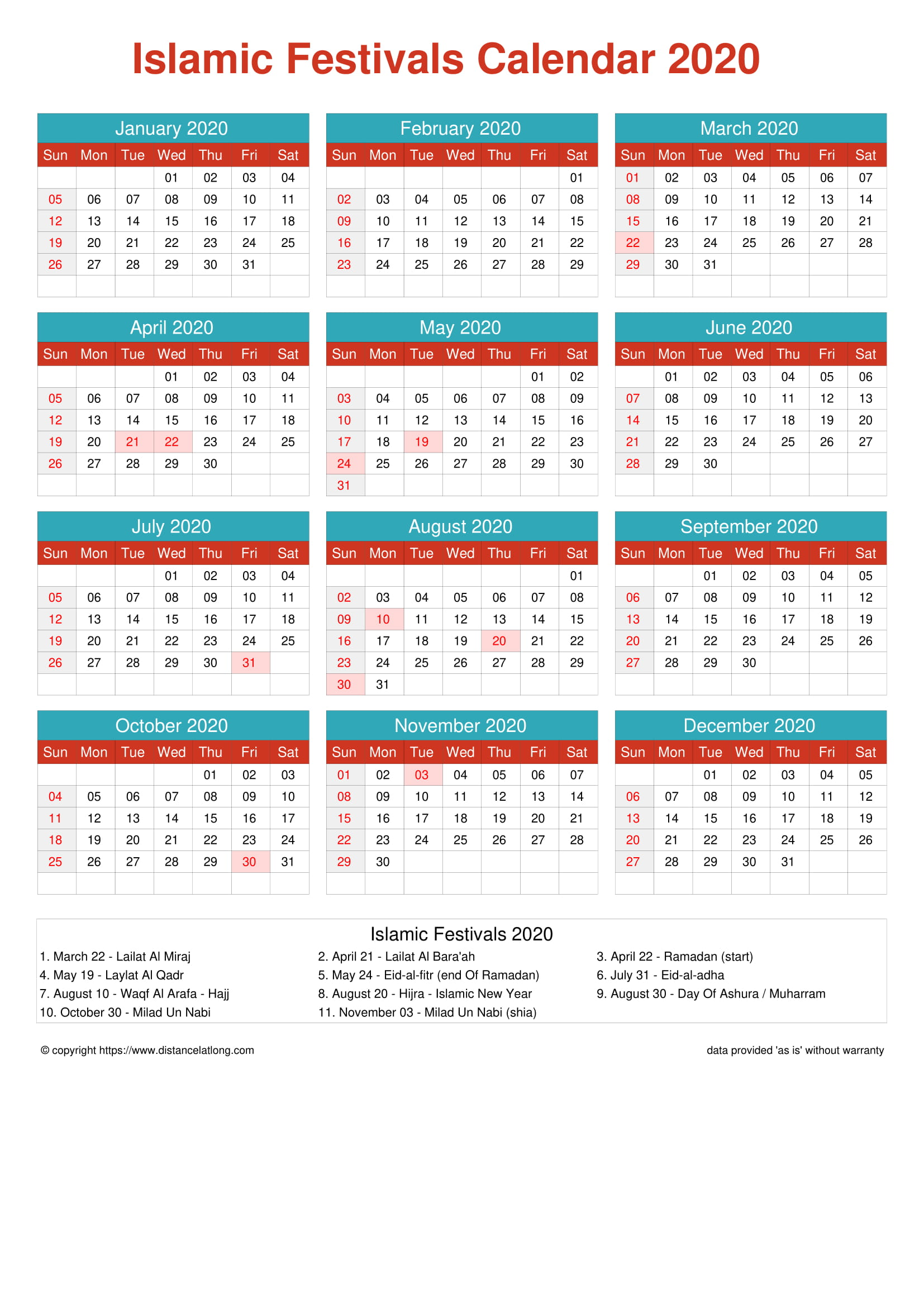 Muslim Calendar 2022.2020 Islamic Religious Calendar Islamic Religious Portrait Orientation Free Printable Templates Free Download Distancelatlong Com