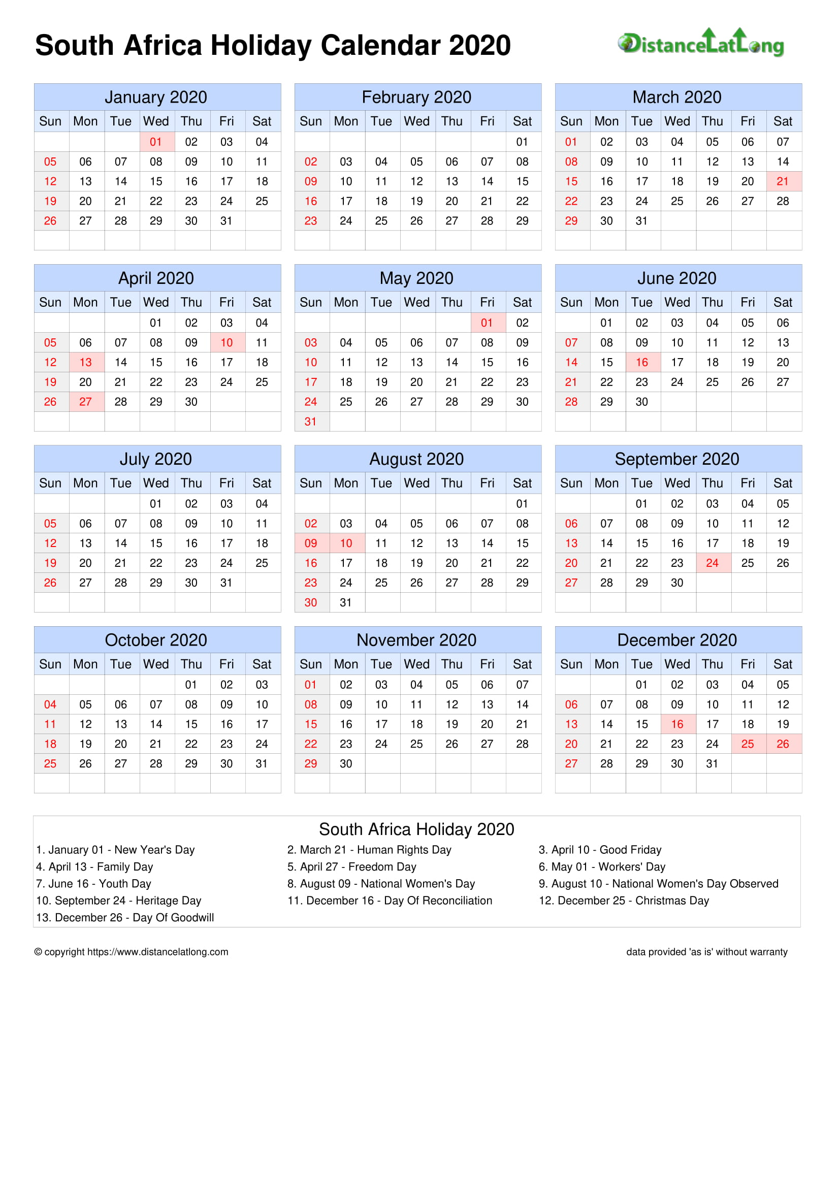 Calendar horizontal grid sunday to saturday bank holiday ...