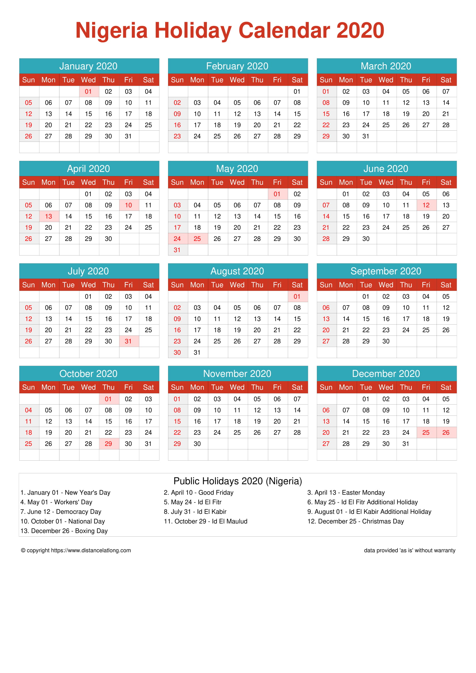 2020 Nigeria Holiday Calendar Nigeria Portrait Orientation Free Printable Templates Free Download Distancelatlong Com