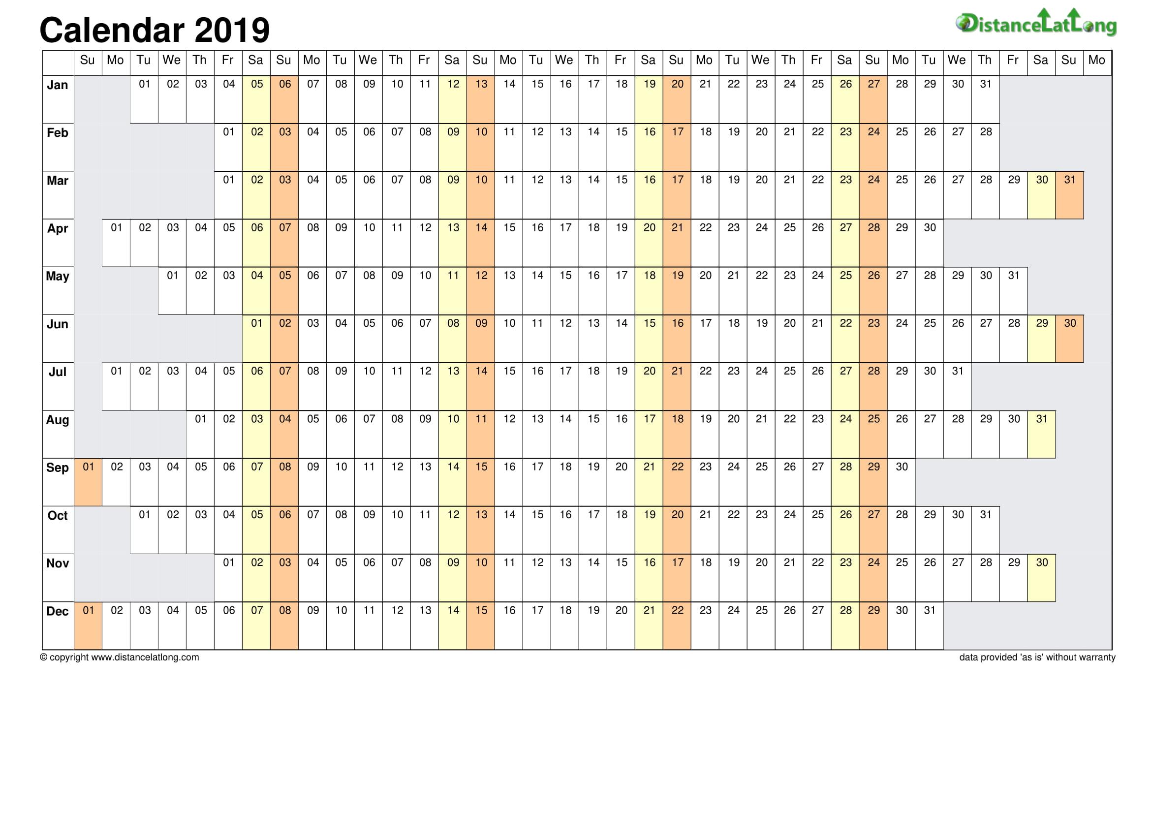 Blank 2019 Calendar Template from www.distancelatlong.com
