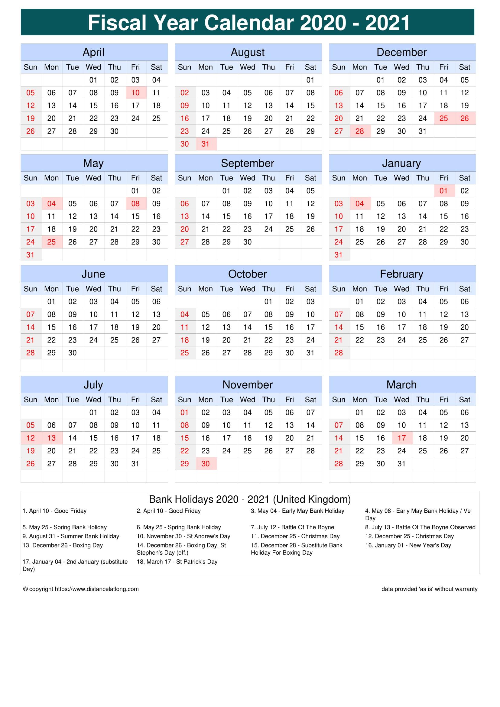 Fiscal Portrait Calendar vertical grid sunday to saturday ...