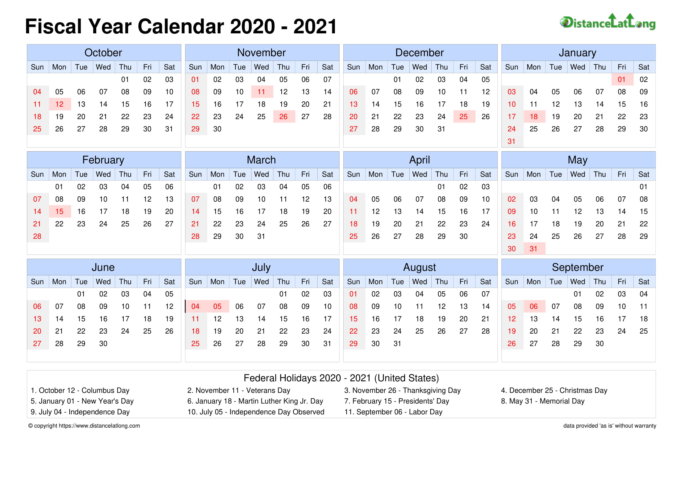 2019 Holiday Calendar Landscape Orientation Free Printable