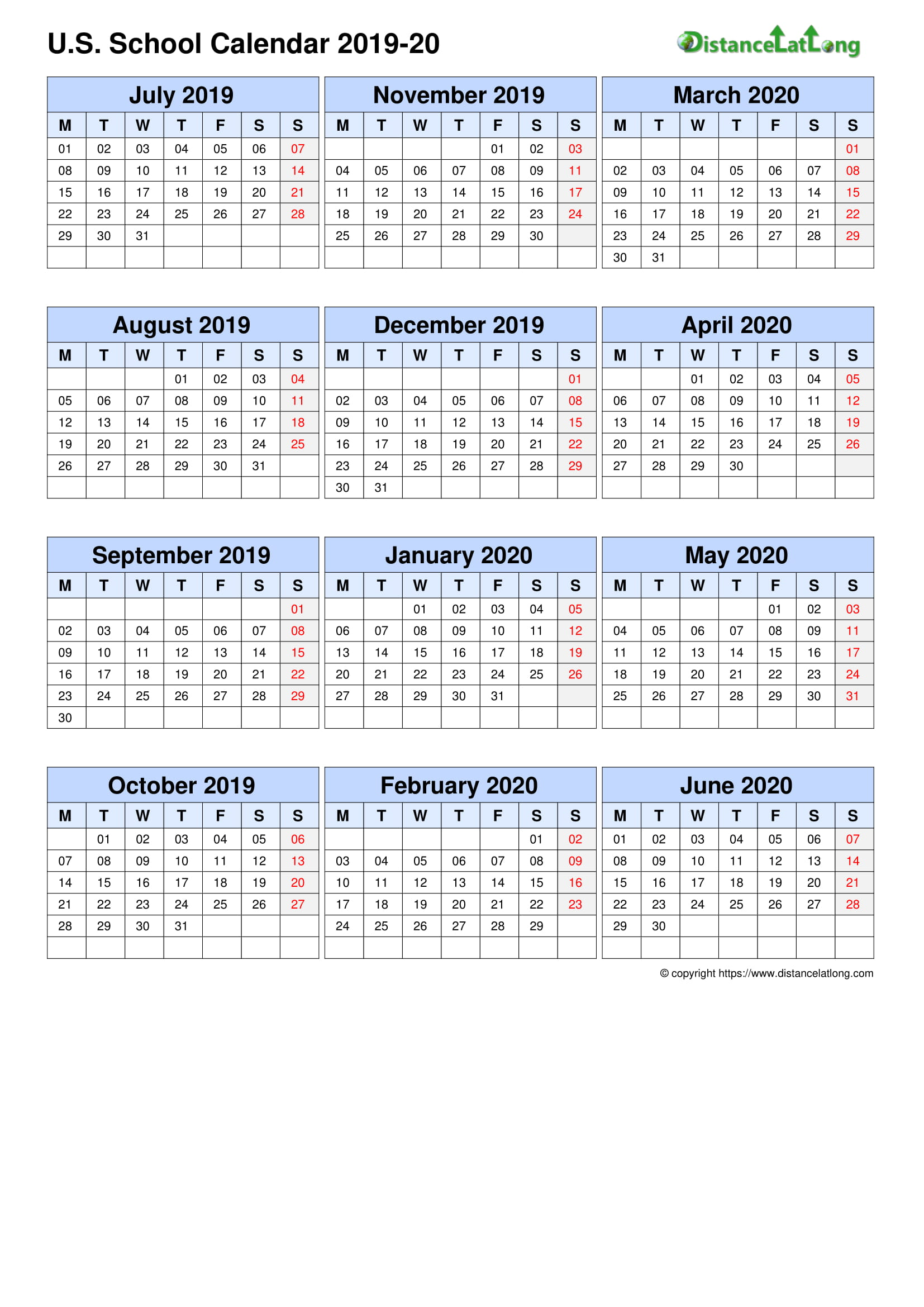 2020 School Calendar School Portrait Orientation Free Printable Templates Free Download Distancelatlong Com