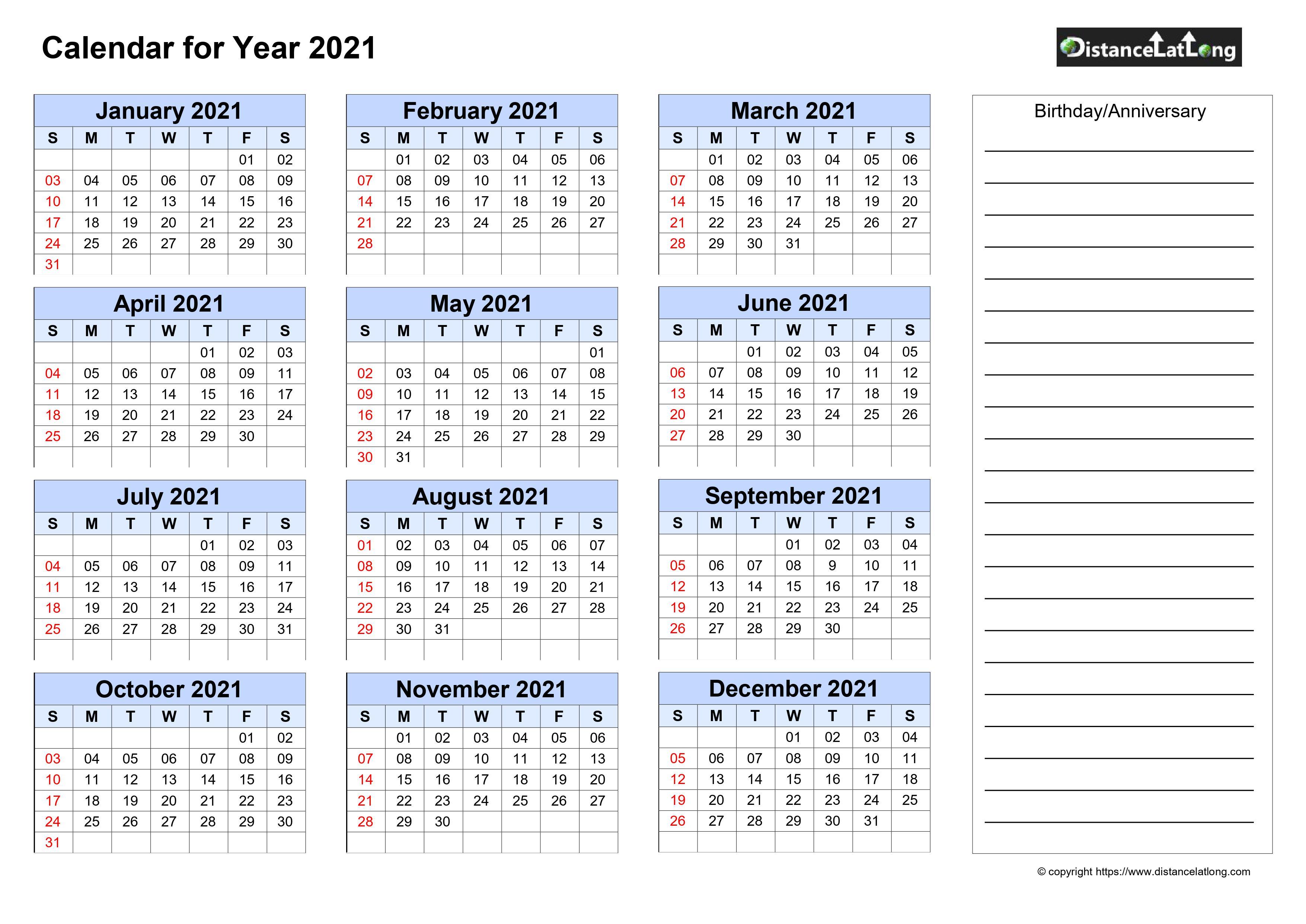 Free Yearly Printable Birthday and Anniversary Blank ...
