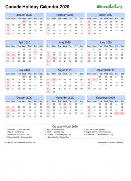 2022 Calendar Canada.Canada Holiday Calendar 2020 Pdf Templates Distancelatlong Com