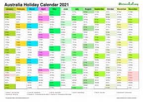 Calendar Vertical Month Column With Australia Holiday ...