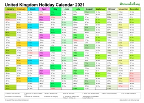 Calendar Vertical Month Column With United Kingdom Holiday ...