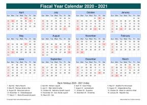 Fiscal Calendar Vertical Grid Sun Sat Holiday India Cool ...