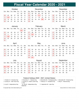 United States Fiscal Year 2020 2021 Calendar Templates Free Printable Fiscal Calendar Templates Distancelatlong Com1
